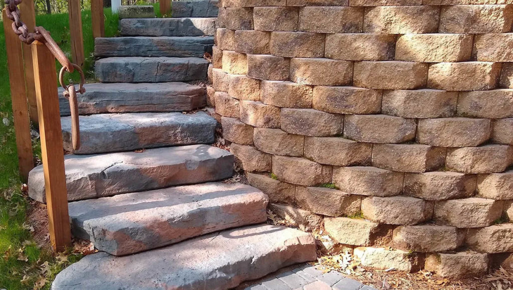 Stone staircase with block retaining wall